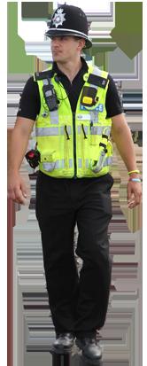 UK policeman with D3S radiation detector on equipment belt