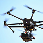 UAV radiation and mapping drone in flight