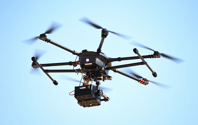 Drone with Kromek radiation detector