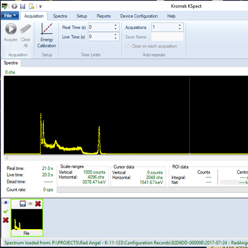 KSpect gamma spectroscopy software RadAngel Spectrum