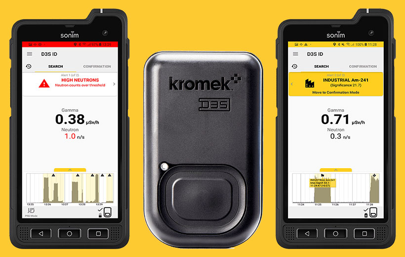 D3S radiation detectors with rugged smartphone