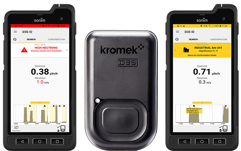 Kromek palm sized PRD and RIID mobile apps next to their radiation detector unit